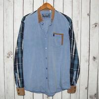Desigual Men's Button Front Shirt Blue Chambray w/ Corduroy Collar Cuffs 2XL