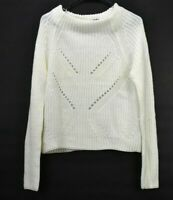 Almost Famous Women's M Long Sleeve Mock Neck Knit Sweater Cream Ivory NEW