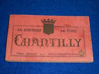 CPA LOT 20 carte carnet LE CHATEAU de CHANTILLY album A.PAPEGHIN PARIS TOUR
