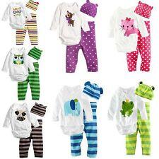 Boy Girl Outfit Hat Animal Print Romper Pants Playsuit Bodysuit Set Babygrow Hot