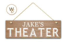 "THEATER Sign, Custom Name On 5.5"" x 17"" Wood Sign, Personalized with Name"