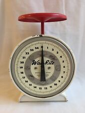 WORKING Vintage Way Rite 25 lbs. Household Scale Farm Country Red & White Metal