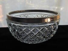 "Vintage Glass Made In England Clear Waffle Pattern Silver Metal Rim 8"" Bowl"