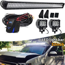 """Roof Offroad 52"""" LED Light Bar+4"""" Pods+Brackets For Chevy Silverado/GMC Sierra"""