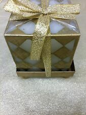 "Unscented DIAMOND PATTERN GOLD Candle 2.75"" CUBE GOLD RIBBON/base w/ ball feet"
