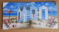 Arthouse Beach Huts set of 2 Canvas Prints