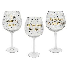 Set of 3 Leonardo Collection Gold Edition Balloon Gin Glasses With Slogans