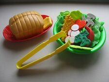 TIKES FISHER PRICE MTC FUN FOOD PLAY ✿ SALAD BOWL BREAD TONGS BASKET ✿ UNIQUE