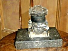 Rare Antique Victorian Large Crystal Inkwell on Fossil Granite Base.