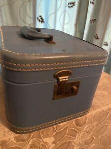 """RARE Vintage La Parisienne By Crown Luggage 14"""" Blue Train Box 1940s? Side Open"""