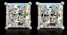 3.5 ct tw Princess Earrings Top Russian CZ Moisanite Simulant Sterling Silver