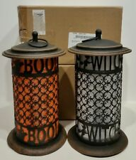 """2 FALL HALLOWEEN DECOR -  WITCH & GHOST LANTERN - 13"""" METAL CHANGING LED LIGHT"""