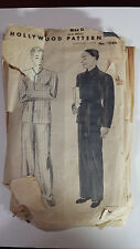 """Hollywood 1066 men's pajama pattern 42""""-44"""" chest precut from c. 1930s"""