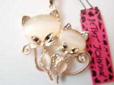 Betsey Johnson Rhinestone Double Cat Pendant Necklace #R01
