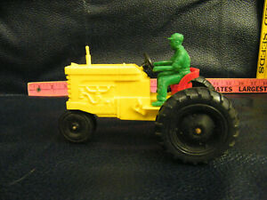 Vintage Processed Plastic Co. Aurora, Illinois Plastic Yellow Tractor w/Farmer