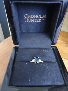 Chisholm Hunter White Gold, Sapphire And Diamond Engagement Ring in Box