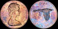 1967 CANADA ELIZABETH II SILVER $1 DOLLAR PROOF LIKE TONED GOOSE HIGH GRADE