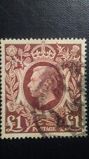 GB King George VI 1948 Used Brown 1 Pound SG 478b Wmk.133