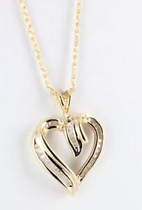 18K Yellow Gold over Stainless Steel Diamond Heart Pendant