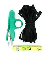 10 yards Elastic 1/4'' Wide with Sewing Tape Measure and Plastic Nippers