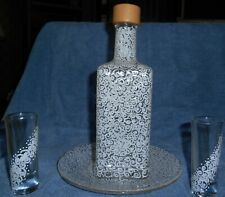 Decanter With Plate, And Two Shot Glasses