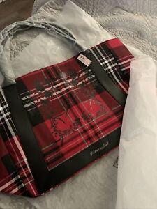 Victorias Secret Red Black Plaid Tote NIP NWT