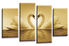 Love Heart Canvas Wall Art Picture Large 2 Tone Sepia Cream Grey Swans 4 Panel
