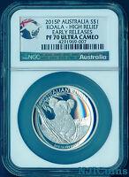 2015 P Australia HIGH RELIEF 1oz Silver Koala $1 Coin NGC PF70 UC ER +COA/BOX