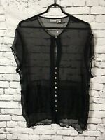 Newport News Sheer Black Blouse Womens Size 22W