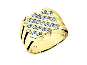 Genuine 1.05Ct Round Wide 5Row Mens Bridal Ring 10K Yellow Gold H SI2 Channel