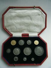 More details for 1902 edward vii matt proof 11 coin set - gold sovereign to maundy 1d with box