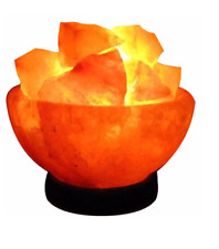 Himalayan Rock Salt Lamp Bowl Shaped With Wooden Base And Salt Chunks