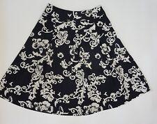 Lysgaard Baroque Black Pleated Flower 100%Cotton Banded Waist Devore Skirt sizeS