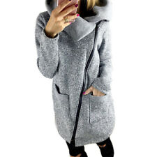 Womens Winter Warm Casual Hoodies Jacket Coat Long Zipper Sweatshirt Gray