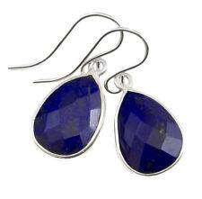 Lapis Earrings Sterling Silver Teardrop Faceted Bezel Drops Blue Lazuli Dainty