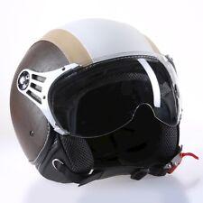 "CASCO Jet Moto Roller M CMX ""CHAP"" colore Bianco Beige + Marrone pelle"