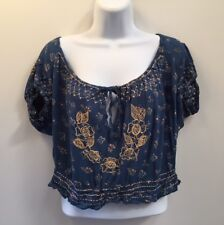 Vintage 90s Embroidered Beaded Top Shirt Blue Gold Bohemian Peasant (1415)