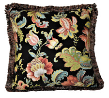 retro printed black floral linen pillow with fringe for sofa