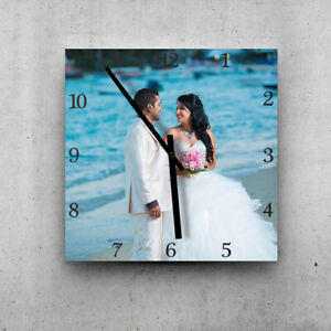 PERSONALIZED GIFT! LARGE SIZE 44cm square photo printed wall clock. Black hands