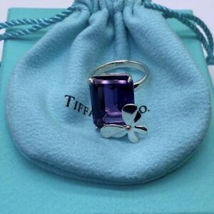 Tiffany & Co Love Bug 18K Rose Gold & 925 Silver Amethyst Butterfly Ring SZ 6.5