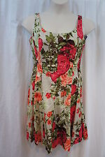 Nine West Petite Dress Sz 14P Khaki Multi Floral Scoop Neck Casual A-Line