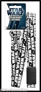STAR WARS Breakaway LANYARD Key chain ID Holder OFFICIAL Collectible black white