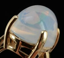 Outstanding & Rare!! 14K Yellow Gold Contra Luz Opal Ring – HIGH Dome, Size 6.25
