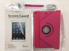 360 Leather Case-Apple iPad Mini 2/3/4+Car Charger+Stylus+Earphone+Screen Protec