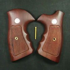ROSEWOOD CHECKERED GRIPS SMITH&WESSON REVOLVERS N FRAME , SQUARE BUTT #SWN-126