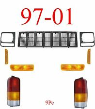 97 01 Jeep Cherokee 9Pc Grill, Doors & Tail Light, Front Park & Side Light Kit