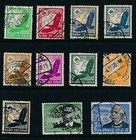 Stamp Germany Mi 529-39 Sc C46-56 1934 3rd Reich Era Airmail Flugpost Globe Used