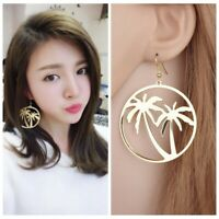 Gold Circle Geometric Coconut Tree Hook Earrings Women Jewelry Drop Dangle