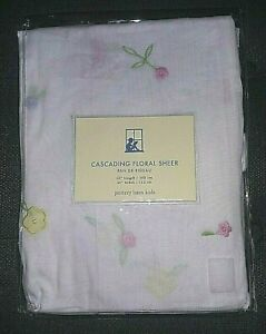 """POTTERY BARN KIDS PBK Cascading Floral Sheer White Cotton Sheer 44""""w 63""""l NEW"""