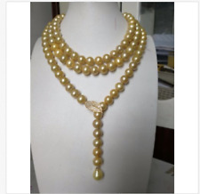 """NEW round 38"""" AAA 8-9MM SOUTH SEA NATURAL GOLD PEARL NECKLACE SILVER CLASP"""